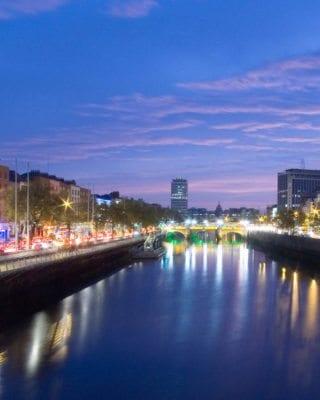 View over River Liffey in Dublin City Centre