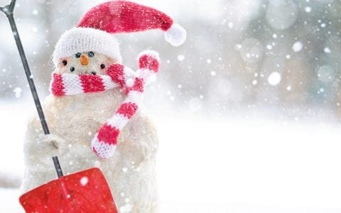 Snowman with Scarf, Hat and Shovel