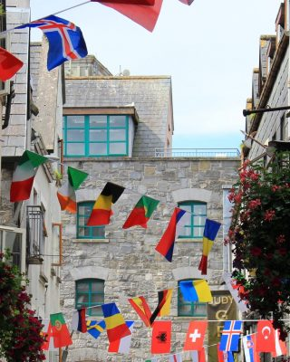 Buildings in Galway with flags hanging